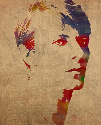 David Bowie Rock Star Musician Watercolor Portrait On Worn Distressed Canvas Art Print by Design Turnpike
