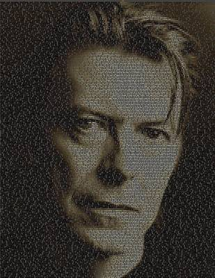 Rock And Roll Drawings - David Bowie Song List Mosaic by Paul Van Scott