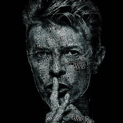 Rock N Roll Digital Art - David Bowie Text Portrait - Typographic Face Poster Created With All The Album Titles By David Bowie by Jose Elias - Sofia Pereira