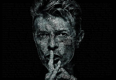 Rock N Roll Icons Digital Art - David Bowie Text Portrait - Typographic Poster With Album Titles And Background With Songs Names by Jose Elias - Sofia Pereira
