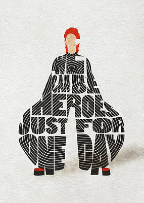 Fashion Illustration Wall Art - Digital Art - David Bowie Typography Art by Inspirowl Design