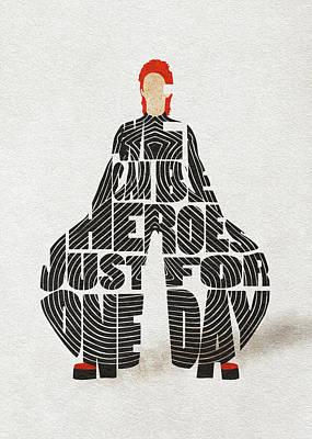 Digital Art - David Bowie Typography Art by Inspirowl Design
