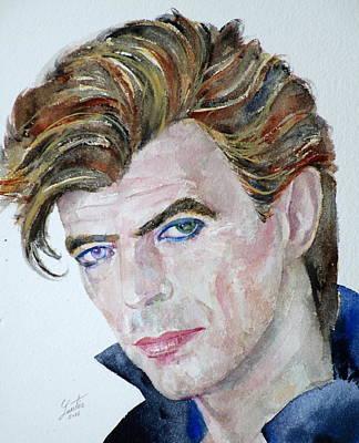 Painting - David Bowie - Watercolor Portrait by Fabrizio Cassetta