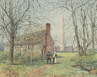 Charming Cottage Painting - David Burns's Cottage And The Washington Monument, Washington Dc, 1892  by Walter Paris