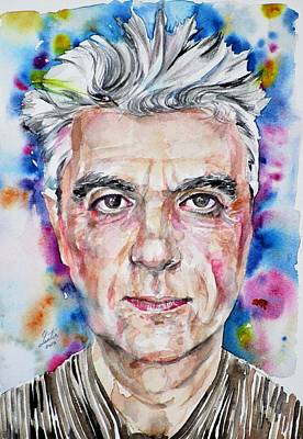 Painting - David Byrne - Watercolor Portrait by Fabrizio Cassetta