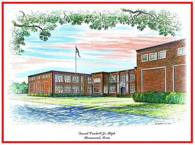 Drawing - David Crockett Junior High School by Randy Welborn