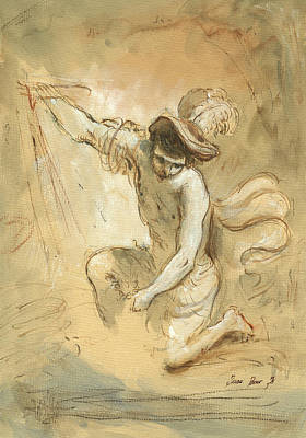 Old Wall Painting - David Figure Drawing by Juan Bosco