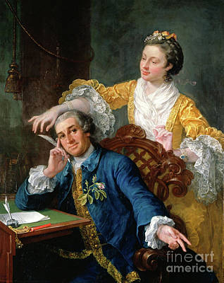 Painting - David Garrick With His Wife Eva-maria Veigel, La Violette Or Violetti By William Hogarth  by Doc Braham