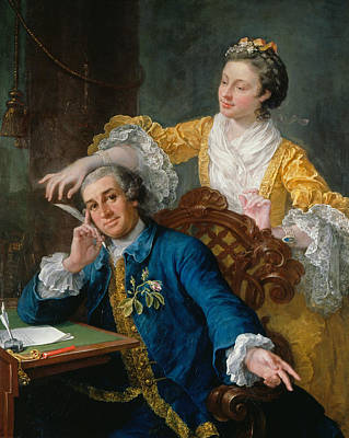 Painting - David Garrick With His Wife Eva-maria Veigel by William Hogarth