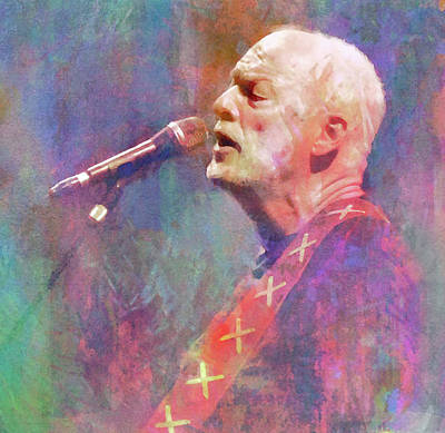 Musicians Mixed Media Royalty Free Images - David Gilmour Pink Floyd Royalty-Free Image by Mal Bray