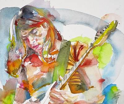 Painting - David Gilmour - Watercolor Portrait.2 by Fabrizio Cassetta