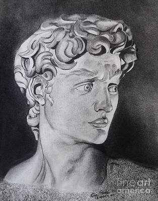 Statue Portrait Drawing - David In Pencil by Lise PICHE