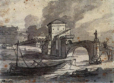 Digital Art - David Jacques Louis View Of The Tiber And Castel St Angelo by Jacques Louis David
