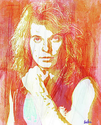 Robert Plant Mixed Media - David Lee Roth Dlr  by Enki Art