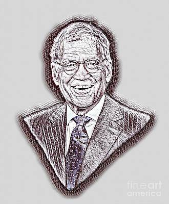 Ed Sullivan Drawing - David Letterman Drawing by Pd