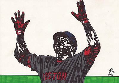 Mlb Boston Red Sox Drawing - David Ortiz 2 Homer 498 by Jeremiah Colley