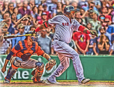 Mixed Media - David Ortiz Boston Red Sox Oil Art 1 by Joe Hamilton