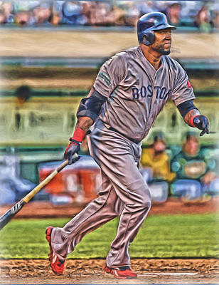 Mixed Media - David Ortiz Boston Red Sox Oil Art 2 by Joe Hamilton