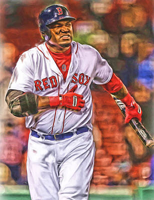 Mixed Media - David Ortiz Boston Red Sox Oil Art 3 by Joe Hamilton