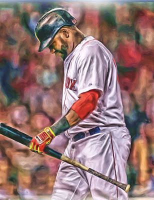Mixed Media - David Ortiz Boston Red Sox Oil Art 4 by Joe Hamilton