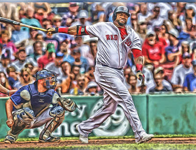 Mixed Media - David Ortiz Boston Red Sox Oil Art 5 by Joe Hamilton