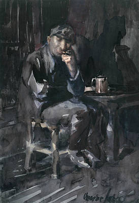 Drawing - David Parrish - Interior Of A Tavern by George Luks