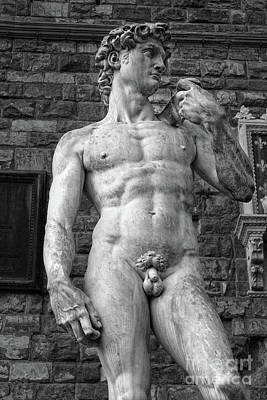 Photograph - David Statue By Michelangelo In Florence Italy In Black And White by Gregory Dyer