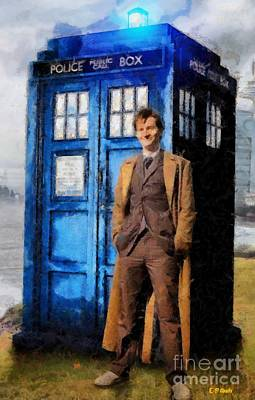 David Tennant As Doctor Who And Tardis Print by Elizabeth Coats