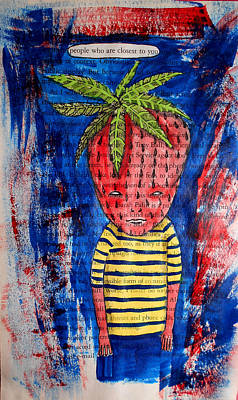 Painting - David The Strawberry Boy On Page From Sarah Palin Book by JoLynn Potocki