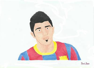 Drawing - David Villa by Toni Jaso