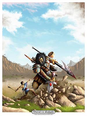 Digital Art - David vs Goliath  by Matt Ebisch