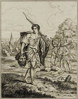 Goliath Drawing - David With Head Of Goliath. 18th by Vintage Design Pics