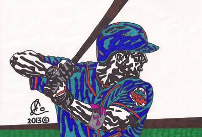 American Baseball Art Drawing - David Wright 1 by Jeremiah Colley