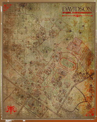 Digital Art - Davidson College Map by Paulette B Wright