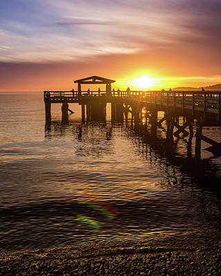 Photograph - Davis Bay Pier Sunset 4 by Brad Koop