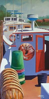 Davis Creek Boats Art Print by Hugh Harris