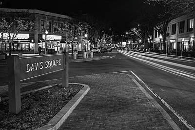 Photograph - Davis Square Sign Somerville Ma Mikes Black And White by Toby McGuire