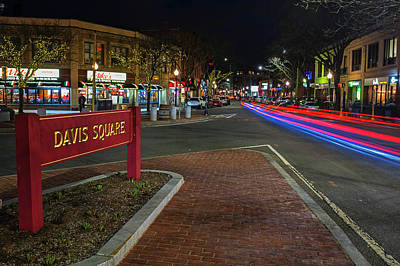 Davis Square Sign Somerville Ma Mikes Art Print