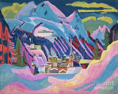 Vivid Colour Painting - Davos In Winter by Ernst Ludwig Kirchner