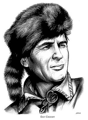 Politicians Drawings - Davy Crockett by Greg Joens