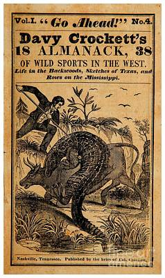 Drawing - Davy Crocketts 1838 Almanack Of Wild Sports In The West by Peter Gumaer Ogden Collection