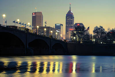 White River Scene Photograph - Dawn Along The White River - Indianapolis Skyline by Gregory Ballos