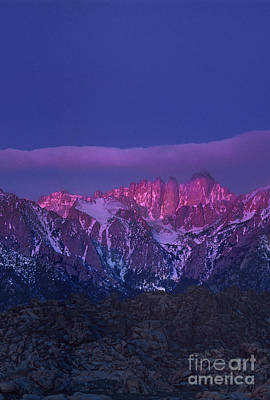 Photograph - Dawn Alpenglow Mount Whitney Eastern Sierras Alabama Hills California  by Dave Welling