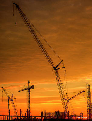 Tower Crane Photograph - Dawn And Cranes Crawler Cranes And Tower Crane Construction Art by Reid Callaway