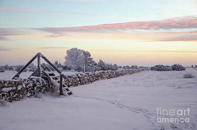 Photograph - Dawn At A Winterland With A Stile By Stone Wall by Kennerth and Birgitta Kullman