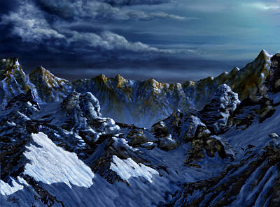 Art Print featuring the digital art Dawn At Eagle's Peak by Curtiss Shaffer
