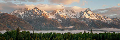 Photograph - Dawn At Grand Teton National Park Panorama Wyoming by Brian Harig