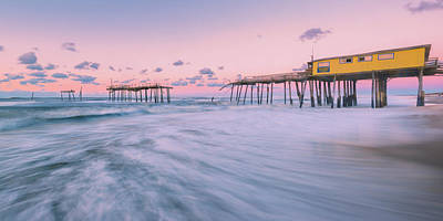 Photograph - Dawn At Outer Banks Fishing Pier In Frisco Panorama by Ranjay Mitra