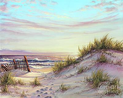Beach Fence Painting - Dawn At The Beach by Joe Mandrick