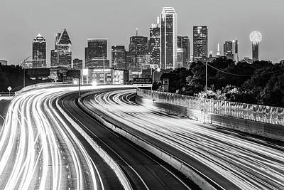 Photograph - Dawn At The Dallas Skyline - Texas Cityscape In Black And White by Gregory Ballos